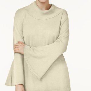 !~ Polished Beige Cowl-Neck Bell-Sleeve Sweater ~!